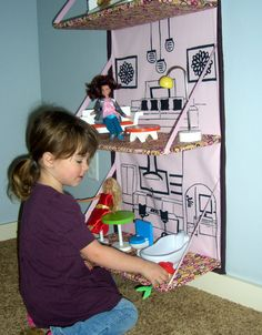 Store Away Doll House e-pattern. Fold up and store away when not using.. $10.00, via Etsy.