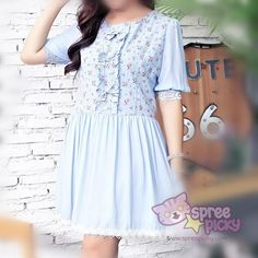 XL/2XL/3XL Blue Floral Bowknot Dress SP166921 Material: made of cotton and linen