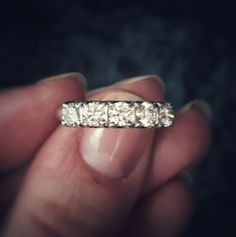 """Five """"I Love Yous"""" on one finger. * Antique 14kt White Gold .90ct Diamond Five Stone Wedding/Anniversary Band * Katie Callahan & Co."""