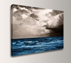 "Beach Art - Canvas Print of a Painting of Blue Ocean and Sky - Coastal Wall Art - ""At Sea "" by TheModernArtShop on Etsy"