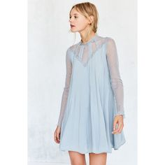 Kimchi Blue Constance Embroidered Mesh Mock-Neck Frock Dress ($98) ❤ liked on Polyvore featuring dresses, blue long sleeve dress, mesh dresses, short dresses, victorian dress and sheer long sleeve dress