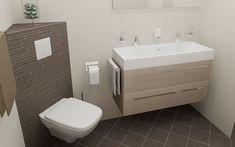 Kleine badkamers 200x200cm met dubbel badkamermeubel en WC met klein hoek inbouwreservoir. Sani-bouw.nl