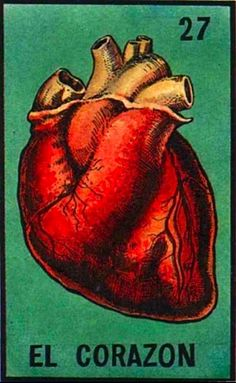 "Traditional Mexican card deck ""La Loteria"" 27 - El Corazon, The Heart. Playing Cards."