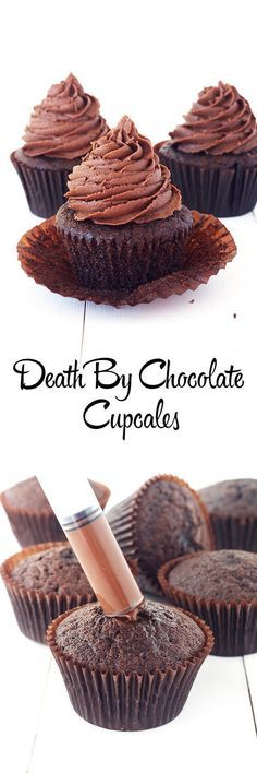 Easy Chocolate Cupcakes filled with chocolate ganache from Sweetest Menu - Birthday Cupcake Ideen Death By Chocolate Cupcake Recipe, Chocolate Cupcakes Filled, Chocolate Ganache, Chocolate Desserts, Chocolate Buttercream, Chocolate Sprinkles, Buttercream Frosting, Filled Cupcakes, Chocolate Smoothies