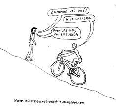 Chiste del ciclista camino de la embajada