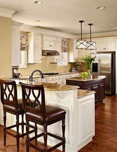 combination cream kitchen with dark brown