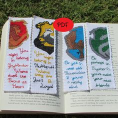 Harry Potter Hogwarts Houses Cross Stitch Pattern Set - Bookmarks (PDF/Digital File)