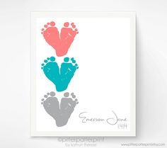 Coral and Mint Nursery Wall Art Baby by PitterPatterPrint on Etsy