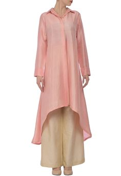 Soft pink high low tunic with grey palazzos by Manish Malhotra - Shop at Aza