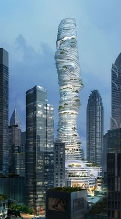 Urban Forest, Chongqing, China MAD architects' new project 'Urban Forest' is located in Chongqing, China. Urban Forest is a commercial high-rise building that takes the form of an urban mountain with over 70 floors, each one different and unique. Unusual Buildings, Interesting Buildings, Amazing Buildings, A As Architecture, Futuristic Architecture, Beautiful Architecture, High Rise Building, Belle Villa, Taj Mahal