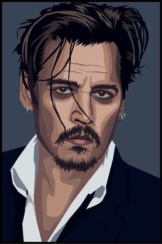 illustration of jonny depp Vector Portrait, Digital Portrait, Portrait Art, Arte Punk, Whatsapp Dp Images, Portraits, Portrait Illustration, Grafik Design, Graphic Design Illustration