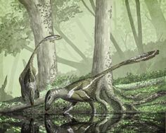 Two Deinonychus antirrhopus either taking a moment to drink, or looking at something really interesting at the bottom of that pool   Mark Witton