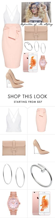 """""""She Don't Need No Introduction."""" by definitionofmestyling ❤ liked on Polyvore featuring Topshop, Hermès, Casadei, Michael Kors, Cartier and Rolex"""
