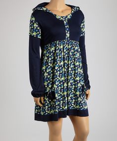 Reborn Collection Blue & Green Floral Hooded Empire-Waist Dress - Plus by Reborn Collection #zulily #zulilyfinds