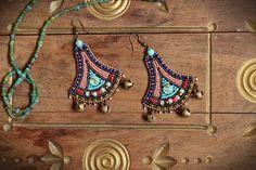 Zanzibar beaded leather dangle earrings by SassafrasFox on Etsy