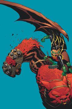 Robin riding Goliath