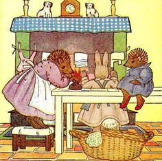Little Grey Rabbit by Allison Uttley  illustration by Margaret Tempest. Fuzzypeg watching his mother doing the ironing
