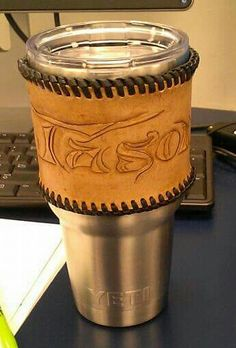 I made my husband a leather YETI sleeve for our 3yr anniversary.  #oneofakind #noonemakesthem