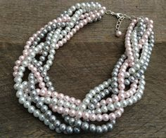 Pearl Necklace Pink Grey White Six Strand by haileyallendesigns, $36.00
