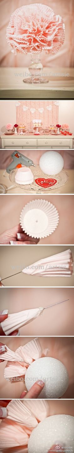 This cute carnation looking decoration is made from cupcake papers and a styrofoam ball.