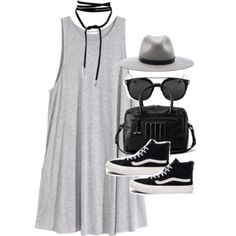 Outfit with a jersey dress and Vans