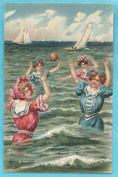 Vintage Postcard Bathing Beauties, Ocean, Bonnets, Sailboats Embossed