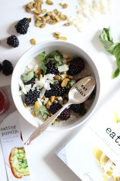 Overnight Oats with Blackberries, Pistachios, Basil + Coconut #eatingpurelycookbook