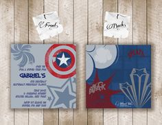 superhero birthday invite...maybe instead of invitations I could paint these for a little boys room. :)