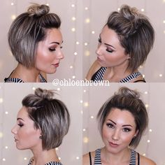 Top Knot Bun's are perfect for the beach, working out, dirt hair and for windy. - Top Knot Bun's are perfect for the beach, working out, dirt hair and for Cute Short Haircuts, Short Hairstyles For Women, Bob Hairstyles, Beach Hairstyles, Pixie Haircuts, Pretty Hairstyles, Braided Hairstyles, Haircut For Thick Hair, Braids For Short Hair