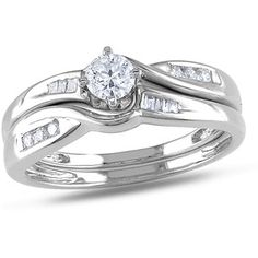1/3 Carat T.W. Round and Tapers Cut Diamond Bridal Set in 10kt White Gold