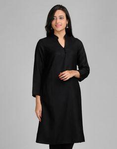 Fabindia.com | Wool Plain Chinese Collar Pocket Long Kurta