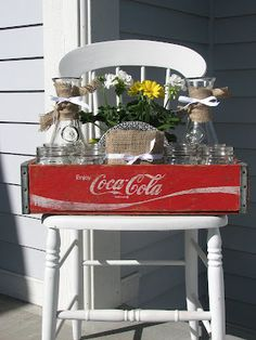 A Festive Gift Idea: a vintage hostess set using a coke crate and mason jars(mimi's vintage charm blog)