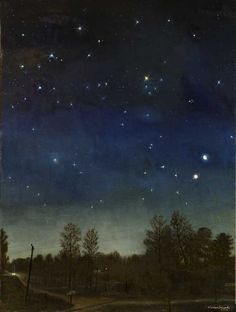 Warren Criswell, Conjunction, oil on canvas, 48 x 36 inches Night Landscape, Landscape Paintings, Art Photography, Sky Painting, Illustration Art, Moonlight Painting, Art, Night Art, Night Sky Painting