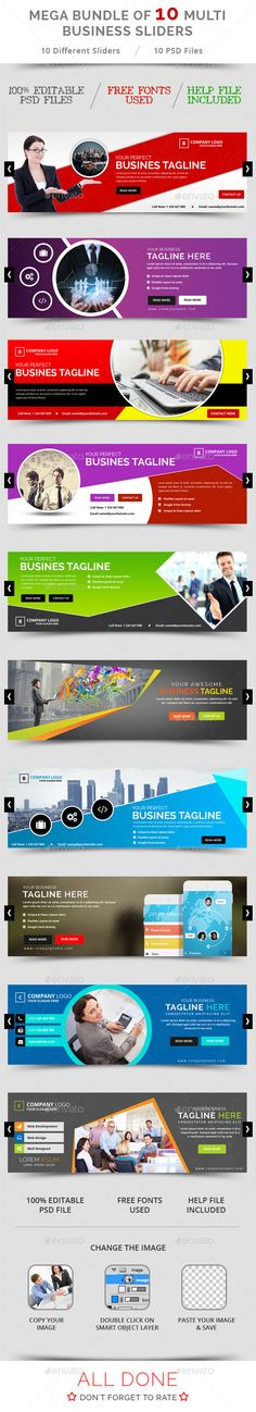 Bundle of 10 Business Sliders Templates PSD. Download here…