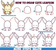 How to Draw Cute Kawaii Chibi Leafeon from Pokemon Easy Step by Step Drawing Tutorial for Kids