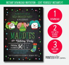 Ugly Sweater Instant Download Invitation Holiday Party Save Yourself, Finding Yourself, Holiday Party Invitations, Ugly Sweater Party, Holiday Parties, Being Ugly, Birthday Ideas, Lettering, Words