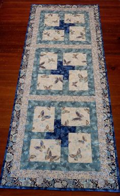 Butterfly Quilted Table Runner Spring Blue Gray by LunettaQuilts