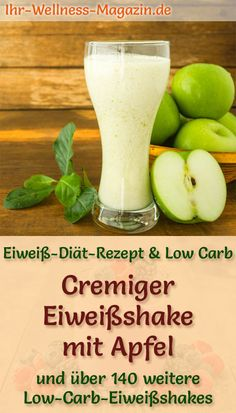 Apfel-Eiweißshake - Low-Carb-Eiweiß-Diät-Rezept - Düşük karbonhidrat yemekleri - Las recetas más prácticas y fáciles Low Carb Protein Shakes, Protein Shake Recipes, Smoothie Recipes, Protein Rich Breakfast, Breakfast Menu, Kefir Benefits, Smoothie Fruit, Protein Smoothies, Kefir Recipes