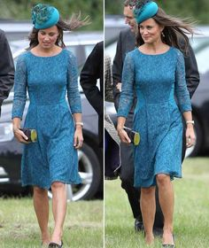 Pippa arrived at St Nicholas Church in Gayton wearing a demure teal lace dress and a matching feathered headpiece.  While she showed off her...