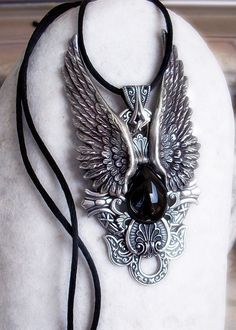 Angel Wing Necklace Womens Mens Gothic Jewelry by Aranwen on Etsy, €57.00