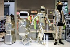"""Evolution of robot"" by Moschino. #moschino #windowshop in #milan #evolution #robot @Moschino"