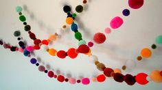 Party Yarn Pom Pom Garland pom poms beads balls scarf by iammie, $24.00