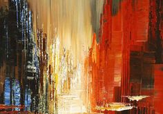 Abstract Cityscape Painting Skyline Urban City Waterdront