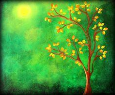 arte tela originale pittura dell'albero quadri di SacredFigArts