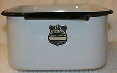 Vintage U.S. Standard Enameled Ware Enamel Enamelware Refrigerator Pan White