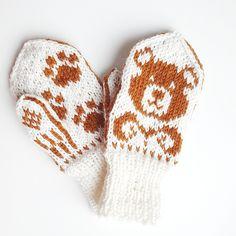 Ravelry: Toddler Teddy pattern by Tonje Haugli Kids Knitting Patterns, Knitting For Kids, Knitting For Beginners, Baby Knitting, Toddler Mittens, Baby Mittens, Red Mittens, Knit Mittens, Fair Isle Knitting