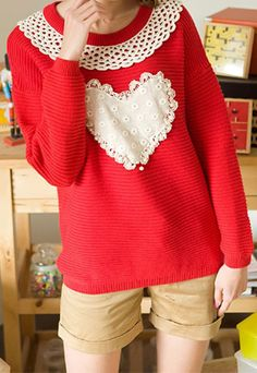 """$23.99   Leisure Sweet Cute Lace Spliced Heart Sweater            Style: Sweet/ Leisure  Feature:  Lace Spliced/ Heart Pattern  Material: Cotton  Size: One Size: Length:67CM(26.38"""" ) Bust: 112CM(44.09"""" )  Sleeve Length: 61CM(24.02"""" )   Color: Yellow/Red/Apricot/Dark Blue/Khaki  When you are in this cute sweater and have gathering with your friends, th..."""