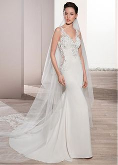 b33bbbd004  200.99  Fabulous Tulle   Acetate Satin V-neck Neckline Mermaid Wedding  Dress With Beaded Lace Appliques