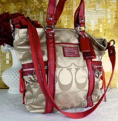 Coach Poppy Khaki Signature Sexiest Red Patent Leather Glam Tote Bag