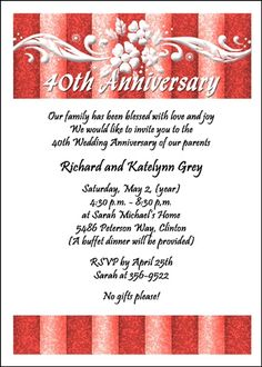 40th Anniversary Party Invitations Card At Cardspe